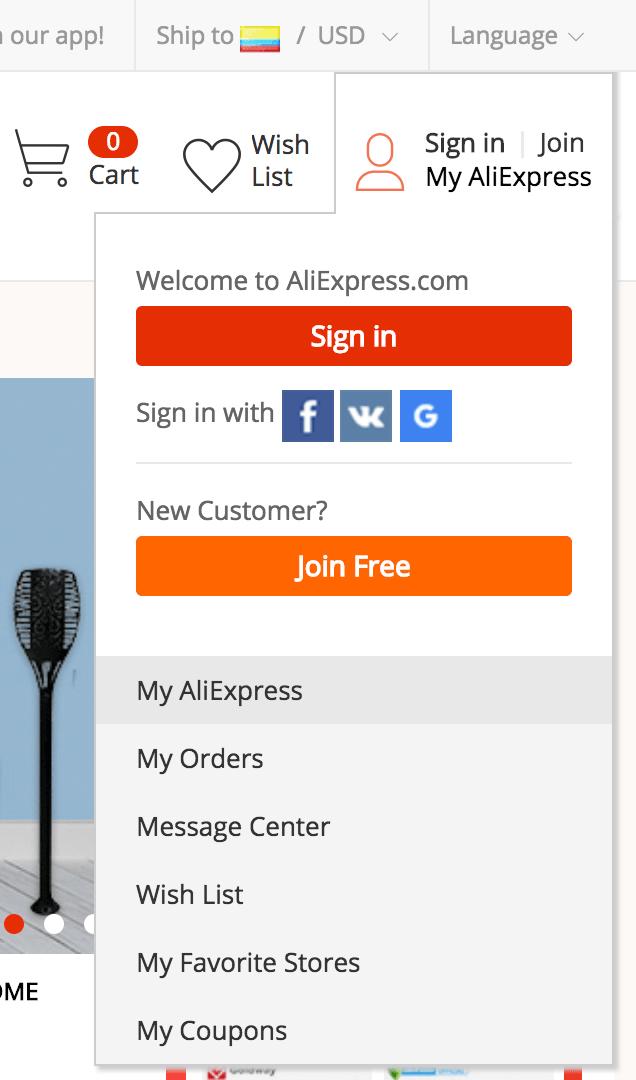 registrarse en aliexpress desde colombia